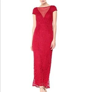 Marina red illusion front lace gown